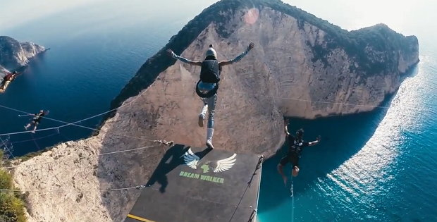 200 meter rope jump in der navagio bucht auf zakynthos. Black Bedroom Furniture Sets. Home Design Ideas
